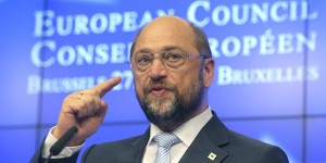 European Parliament President Martin Schultz gestures while speaking during a media conference at an EU summit in Brussels on Thursday, June 27, 2013. European Union leaders meet in Brussels ostensibly to agree on ways to find more jobs for the young, who've been disproportionately punished by years of crisis and recession. (AP Photo/Michel Euler)