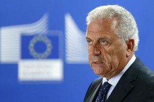 European Commissioner for Migration and Home Affairs Dimitris Avramopoulos addresses a news conference at the EU Commission headquarters in Brussels, August 14, 2015. REUTERS/Francois Lenoir