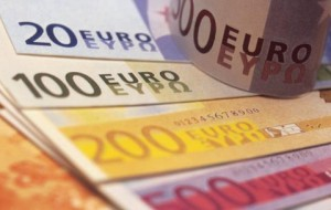 close-up shot of different value euro currency