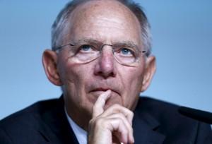 German Finance Minister Schaeuble pauses during a Bundesbank banking congress in Frankfurt