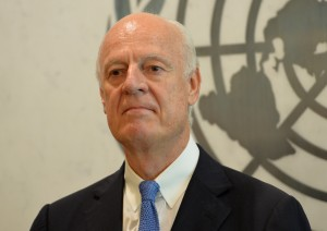 New United Nations Special Envoy for Syria, Staffan de Mistura July 17, 2014 at UN headquarters in New York.AFP PHOTO/Stan HONDA