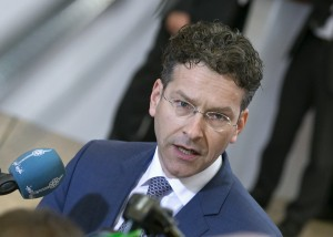 Eurogroup President Jeroen Dijsselbloem talks to reporters at an extraordinary euro zone Finance Ministers meeting (Eurogroup) to discuss Athens' plans to reverse austerity measures agreed as part of its bailout, in Brussels February 20, 2015. Greece has made every effort to reach a mutually beneficial agreement with its euro zone partners but will not be pushed to implement its old bailout programme, its government spokesman said on Friday.  REUTERS/Yves Herman (BELGIUM - Tags: POLITICS BUSINESS)