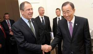 Russian Foreign Minister Sergei Lavrov and UN chief Ban Ki-moon