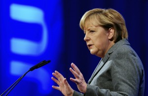 FILE - In this Oct. 16, 2010 file picture German chancellor speaks at a meeting of the youth organization of her Christian Democratic Party (JU) in Potsdam, Eastern Germany. A declaration by Angela Merkel that Germany's attempts to build a multicultural society has failed is feeding a growing debate over how to deal with the millions of foreigners who call Germany home. The chancellor on Saturday Oct. 16, 2010  told a meeting of young members of her Christian Democratic Union that immigrants were welcome in Germany, but needed to learn the language and accept the cultural norms here.  (AP Photo/dapd/ Clemens Bilan, File)
