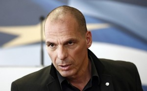 Yanis Varoufakis, Greece's finance minister, speaks to the media following a meeting with Swiss tax officials in Athens, Greece, on Tuesday, April 28, 2015. Greece reshuffled its bailout-negotiating team, reining in Varoufakis, after three months of talks with creditors failed to unlock aid and a meeting with his euro-area counterparts ended in acrimony. Photographer: Kostas Tsironis/Bloomberg *** Local Caption *** Yanis Varoufakis