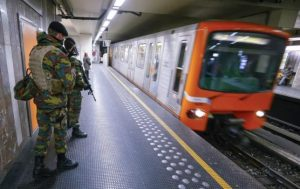Belgian soldiers patrol in a subway station in Brussels, Belgium, in this November 25, 2015 file photo.   REUTERS/Yves Herman/Files