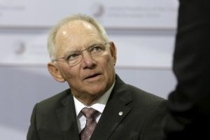 Germany's Minister of Finance Wolfgang Schaeuble attends an informal meeting of Ministers for Economic and Financial Affairs (ECOFIN) in Riga, Latvia, April 25, 2015. REUTERS/Ints Kalnins  - RTX1A7AG