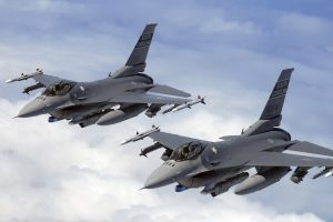 Demon flight of F-16 pilots from the 169th Fighter Wing, South Carolina Air National Guard flies a training mission in the KIWI MOA airspace over the cost of North Carolina Cost . (U.S. Air Force photo SMSgt Thomas Meneguin)