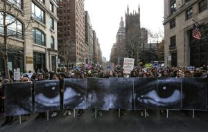 NEW YORK, NY - DECEMBER 13: Thousands of people gather at Washington Square to march through the Manhattan to protest the police violence on December 13, 2014 in New York, United States. (Photo by Cem Ozdel/Anadolu Agency/Getty Images)
