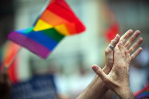 LGBT rinbow flag and clapping hands