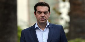 Greek prime minister Alexis Tsipras leaves the presidental palace after a swearing in ceremony of the new finance minister Euclid Tsakalotos on July 6, 2015. Yanis Varoufakis, a firebrand who had infuriated European counterparts, announced he was resigning at Prime Minister Alexis Tsipras's request in a move to placate creditors. He was replaced by Euclid Tsakalotos, a much more discreet and calm junior foreign minister and economist who had been Greece's pointman in the negotiations with creditors. AFP PHOTO/ LOUISA GOULIAMAKI (Photo credit should read LOUISA GOULIAMAKI/AFP/Getty Images)