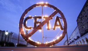 Action against CETA at Parliament in Hamburg Brennender CETA Protest in Hamburg