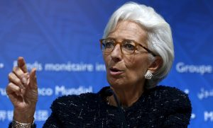 IMF Managing Director Lagarde talks at a news conference at the 2015 IMF/World Bank Annual Meetings in Lima