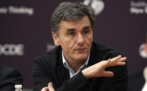 Greek deputy minister for international economic relations Euclid Tsakalotos attends the annual conference of the Institute for New Economic Thinking at the OECD headquarters in Paris