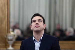27 Jan 2015, Athens, Attica, Greece --- Greek Prime Minister and SYRIZA leader Alexis Tsipras, at the Presidential palace during the swearing in ceremony of the new Greek Government. In Athens on January 27, 2015 --- Image by © Panayiotis Tzamaros/NurPhoto/Corbis