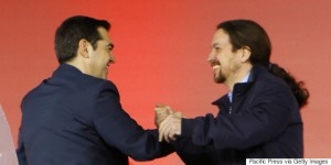 OMONIA SQUARE, ATHENS, ATTICA, GREECE - 2015/01/22: Alexis Tsipras (left), the leader of SYRIZA and the most promising candidate to be the next Prime Minister of Greece, welcomes Pablo Iglesias Turrión (right), the leader of the Spanish Podemos party.SYRIZA (Coalition of the Radical Left), the leading party in the opinion polls, held their final election rally in Athens. Speakers included the leader of SYRIZA Alexis Tsipras and Pablo Iglesias Turrión, the General Secretary of the Spanish Podemos party. (Photo by Michael Debets/Pacific Press/LightRocket via Getty Images)