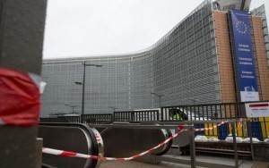 A metro station is closed in front of EU headquarters in the European Quarter of Brussels on Saturday, Nov. 21, 2015. Belgium raised its security level to its highest degree on Saturday as the manhunt continues for extremist Salah Abdeslam who took part in the Paris attacks. The security levels shut down all metro lines and shuttered many shops as well as canceling sports matches. (AP Photo/Virginia Mayo)