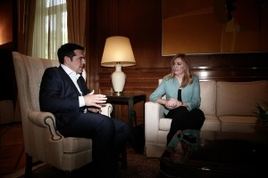 Greek Prime Minister Alexis Tsipras meets the new elected leader of PASOK political party, Fofi Genimata, at Maximos Mansion in Athens, Greece on June 16, 2015. / Συνάντηση του Πρωθυπουργού Αλέξη Τσίπρα με την νεα αρχηγό του ΠΑΣΟΚ, Φώφη Γεννηματά, Αθήνα στις 16 Ιουνίου 2015.