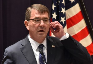 US Defence Secretary Ashton Carter answers questions during a joint press conference with Japanese Defense Minister Gen Nakatani at the Defence Ministry in Tokyo on April 8, 2015. Carter is on a three-day visit to Japan. AFP PHOTO / KAZUHIRO NOGI