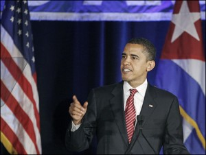 U.S. Democratic presidential candidate Senator Barack Obama (D-IL) speaks during Cuban Independence Day celebrations during a meeting with the Cuban American national foundation in Miami, Florida, May 23, 2008.     REUTERS/Carlos Barria    (UNITED STATES)   US PRESIDENTIAL ELECTION 2008 (USA)