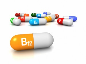 High resolution 3D render of vitamin supplements focus on Vitamin B12 Cobalamin