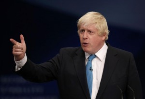 London's Mayor Boris Johnson speaks on the third day of the Conservative Party Conference in Manchester northern Britain