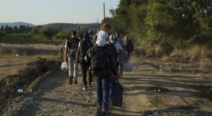 Refugees walk towards Gevgelija in Macedonia, after crossing the boarder from Greece, 23 August 2015. The Macedonian government organised buses and trains to provide transit to the Serbian border in the North of the country. According to the Macedonian NGO Legis, which provides aid to refugees at Gevgelija train station, many of those arriving from Syria show signs of injuries sustained as a result of the armed conflict.