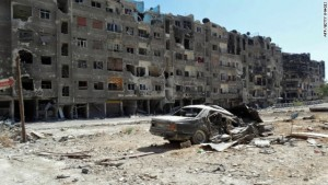 """A handout image released by the Syrian opposition's Shaam News Network on August 17, 2013 shows heavily damaged buildings in Zamalka, a suburb of the Syrian capital Damascus. Despite the Syrian army's efforts to regain full control of Damascus, the rebels remain firmly implanted in the suburbs where there are almost daily clashes. AFP PHOTO/HO/SHAAM NEWS NETWORK == RESTRICTED TO EDITORIAL USE - MANDATORY CREDIT """"AFP PHOTO / HO / SHAAM NEWS NETWORK"""" - NO MARKETING NO ADVERTISING CAMPAIGNS - DISTRIBUTED AS A SERVICE TO CLIENTS - AFP IS USING PICTURES FROM ALTERNATIVE SOURCES AS IT WAS NOT AUTHORISED TO COVER THIS EVENT, THEREFORE IT IS NOT RESPONSIBLE FOR ANY DIGITAL ALTERATIONS TO THE PICTURE'S EDITORIAL CONTENT, DATE AND LOCATION WHICH CANNOT BE INDEPENDENTLY VERIFIED ==-/AFP/Getty Images"""