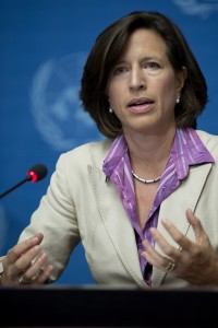 Melissa Fleming, UNHCR, Spokesman during the press conference after heir visit UN High Commissioner for Refugees, Ant—nio Guterres, and the United States Assistant Secretary of State for Population, Refugees, and Migration, Anne C. Richard to Burkina Faso to review the Mali refugee operation and to draw international attention to the neglected West African refugee crisis. They will also respond to queries on other crises such as South Sudan and Syria. 3 August 2012. Photo by Jean-Marc FerrŽ