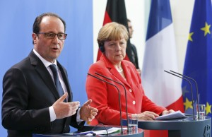 French President Francois Hollande and German Chancellor Angela Merkel address a news conference at the Chancellery in Berlin, Germany, May 19, 2015.     REUTERS/Fabrizio Bensch