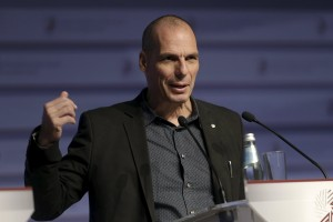 Yanis Varoufakis speaks at a news conference during an informal meeting of Ministers for Economic and Financial Affairs (ECOFIN) in Riga