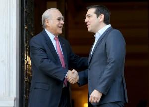 O πρωθυπουργός Αλέξης Τσίπρας συναντάται στο Μέγαρο Μαξίμου με τον Γενικό Γραμματέα του Οργανισμού Οικονομικής Συνεργασίας και Ανάπτυξης (ΟΟΣΑ) , Άνχελ Γκουρία ( Angel Gurría ) , Πέμπτη 10 Μαρτίου 2016 . ΑΠΕ-ΜΠΕ/ΑΠΕ-ΜΠΕ/Παντελής Σαίτας