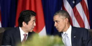 U.S. President Barack Obama, right, and Japan's Prime Minister Shinzo Abe, left, talk during a bilateral meeting at the Asia-Pacific Economic Cooperation summit in Manila, Philippines, Thursday, Nov. 19, 2015. (AP Photo/Susan Walsh)
