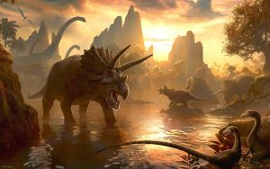 Dinosaurs-Drinking-Water-In-The-Lake-Wallpaper-Image