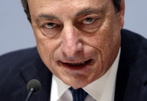 ECB President Draghi addresses a news conference in Brussels
