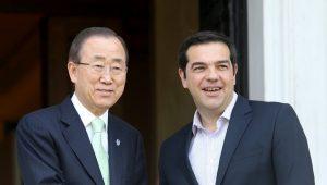 Ο πρωθυπουργός Αλέξης Τσίπρας συναντάται  με τον Γενικό Γραμματέα του ΟΗΕ Μπαν Κι - μουν ( Ban Ki-moon) στο  Μέγαρο  Μαξίμου , Σάββατο 18 Ιουνίου 2016. O Γενικός Γραμματέας του ΟΗΕ πραγματοποιεί διήμερη επίσκεψη στην Ελλάδα . ΑΠΕ-ΜΠΕ/ΑΠΕ-ΜΠΕ/Παντελής Σαίτας