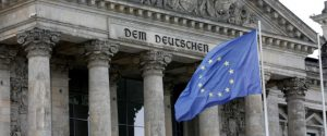 German European Union flag is pictured in front of the Reichstags building, the seat of the lower house of parliament Bundestag, before a debate about the Brexit in Berlin, Germany, June 28, 2016.    REUTERS/Fabrizio Bensch