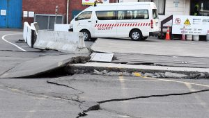 epa05630182 Cracks have appeared in roads around Centre Port, after a 7.5 earthquake based around Cheviot in the South island shock the capital, in Wellington, New Zealand, early 14 November 2016. According to reports, a 7.8 magnitude earthqauke has hit New Zealand overnight, triggering a tsunami warning for the east coast of the country. EPA/ROSS SETFORD NEW ZEALAND OUT